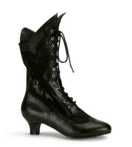 Details about  /Women/'s Victorian Pointed Toe Boot Mid-Calf PU Leather Rustic Punk Lace Up Ankle