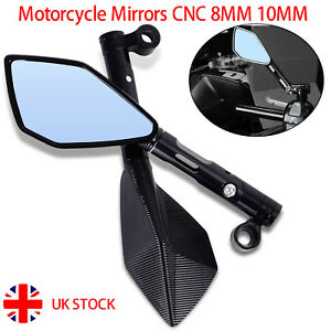 2x CNC Chrome Black 8mm 10mm Motorcycle Scooter Sport Bike Quad Rearview mirrors