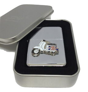 Lambretta Scooter Lighter in Gift Tin Emblem NO FUEL INC RAF Smoking MOD Bike