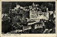St. Goar am Rhein s/w Postkarte 1957 Gesamtansicht von Schloß Rheinfels Ruine