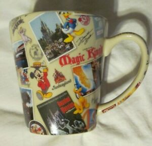 Disney-Parks-Coffee-Mug-Mickey-Mouse-Donald-Duck-Pluto-Goofy-Minnie-Post-Cards