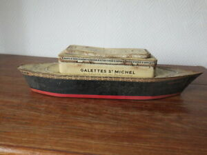 Boite-metal-1935-GALETTES-SAINT-MICHEL-PAQUEBOT-NORMANDIE-a-restaurer
