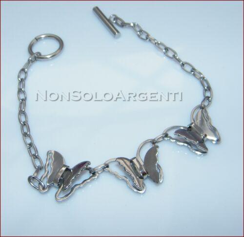 BRACCIALE ACCIAIO da DONNA FARFALLE 3D ACCIAIO STAINLESS STEEL  grigio argento