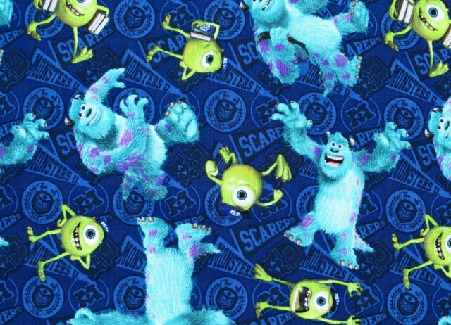 """12""""REMNANT DISNEY PIXAR FILM MONSTERS UNIVERSITY MIKE & SULLY 100% COTTON FABRIC"""