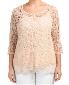 ADIVA-2pc-IVORY-COTTON-CROCHET-LACE-SLEEVE-EVENING-TOP-BLOUSE-amp-CAMI-L-NEW