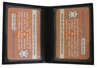 Men's Slim Black Leather Credit Card 2 Id Wallet Holder Bifold Driver's Lic Safe