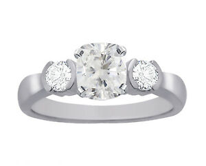 GIA-Certified-Diamond-Engagement-Ring-14k-White-Gold-1-40-Carat-total-Cushion