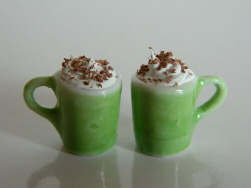 1//12th scale DOLLS HOUSE 2 X CHINA GREEN MUGS WITH HOT CHOCOLATE F2.3