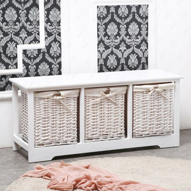 White Shabby Cupboard Cabinet Table Wicker Wood Basket Storage With 3 Drawers by Ebay Seller