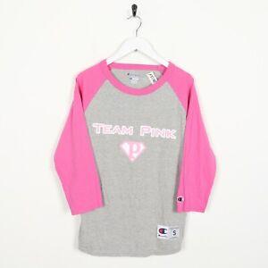 Vintage-Women-039-s-Champion-Team-Rose-Big-Logo-T-Shirt-Tee-Gris-Rose-Petit-S