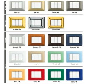 Placca-bticino-matix-3-moduli-vari-colori-cover-plate-originale-made-in-italy