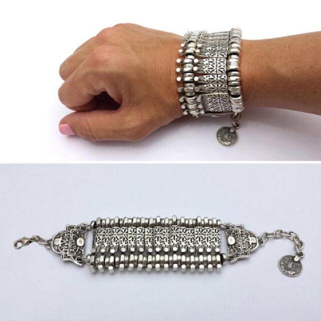 Silver Retro Turkish Coin Festival Tribal Ethnic Statement Bracelet Boho Style