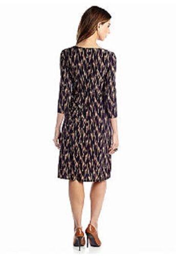 Kasper Rich Raisin//Stone Side Ruched Faux Wrap Tie Dye Stretch Jersey Dress