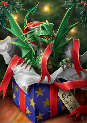 6 Pack Anne Stokes Yule Card Surprise Gift Dragon Christmas