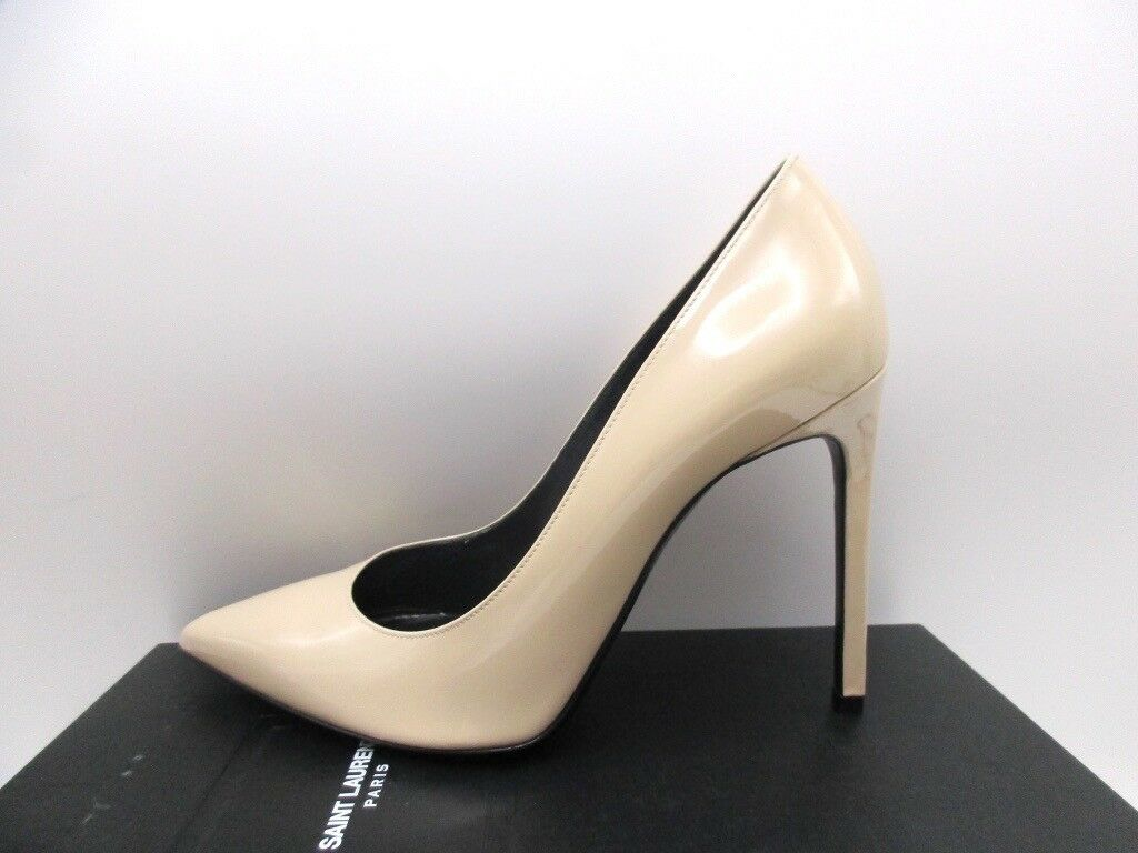 Saint Laurent YSL Paris 105 Patent Nude Powder Pumps Shoes 40 10