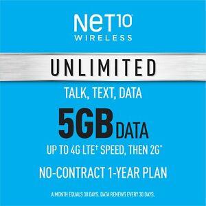 Net10 Prepaid Wireless Phone Plan + SIM - Unlimited Talk & Text 5GB per Month