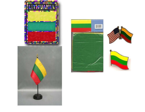 3x5 Flag, Decal, Lapel Pins, /& Desk Flag Lithuania Heritage Flag Set