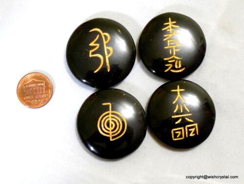 Karuna Cho Ku USUI Reiki SIgn Engraved Black Tourmaline/Obsidian Chakra Set Disc