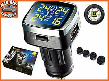 TPMS Wireless Tyre Tire Pressure + Temp Monitor System Kit External Sensors