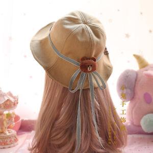 Details about New Sweet Lolita Hair DIY Japanese Kawaii Gothic Accessories Bucket  Hat Cap  V12 329bd135713