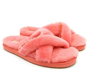 03f16342b3b Details about UGG Australia Abela Vibrant Coral Suede Sheepskin Scuffs  Slippers US 5 NEW