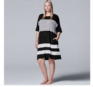 Details about NWT Simply Vera Wang Plus Size Nightgown Sleep Shirt Size Large