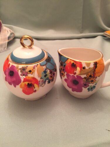 New,free Ship Grace/'s Teaware Creamer /& Sugar Bowl Poppy Flowers /&Gold Trim