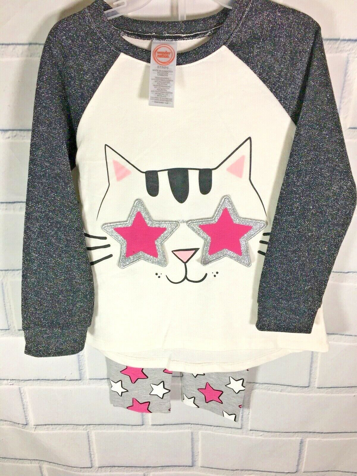 WONDER NATION Little Girls 5T Two PC OUTFIT top leggings Cat Graphic Stars Q2
