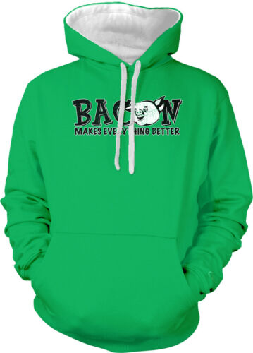 Bacon Makes Everything Better Meat Lovers Pork Pig 2-tone Hoodie Pullover