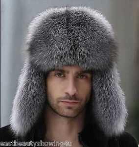Men s Winter Hats Real Fox Fur Lamb Leather Russian Ushanka Cossack ... 0265d7a6d8d8