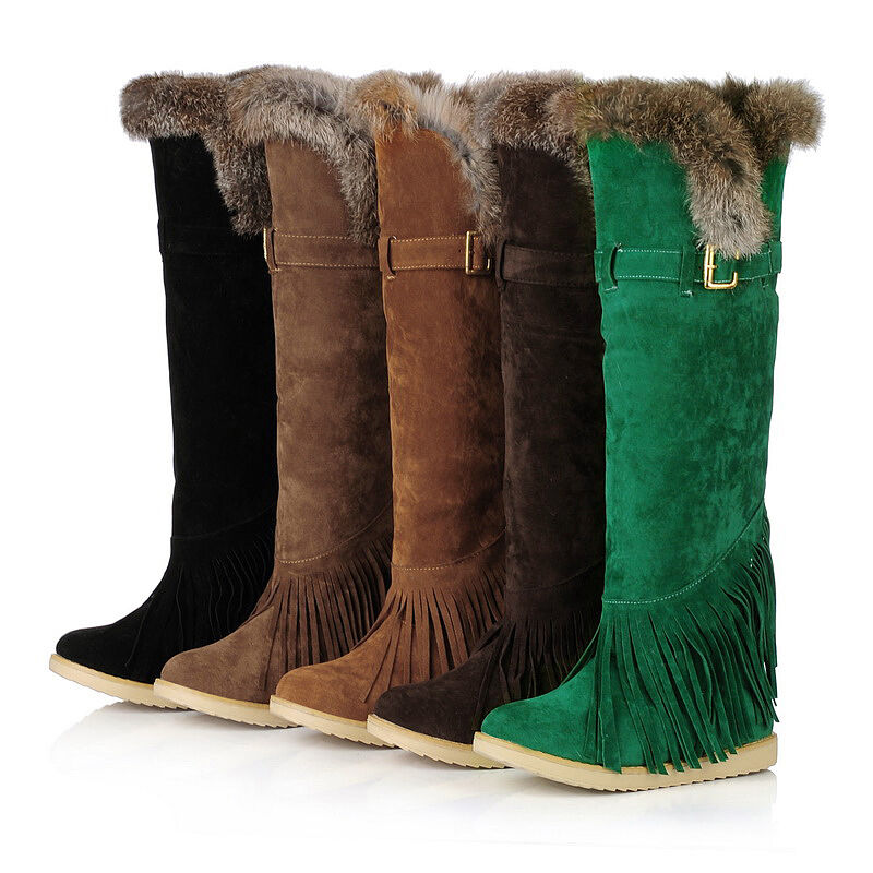 Women Knee High Boots Tassel Fur Top Flats Pull On Buckle Snow shoes Round Toe