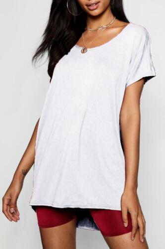 Ladies Batwing Sleeve Curved Hem Womens Basic Plain Baggy Oversize Hi Lo T-Shirt
