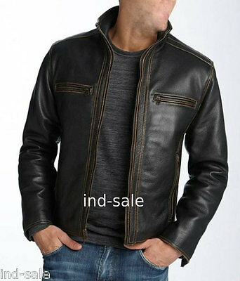 Custom Tailor Made Distressed Thick Leather Jacket Biker Designer Stylish