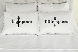 """""""Big Spoon ~ Little Spoon"""" Couples Printed Pillowcases (Set of 2)"""