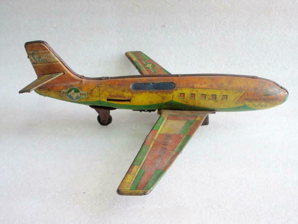 Vintage Vintage Vintage Indian Air Force Friction Power Fire Sparkle Litho Airplane Tin Toy Indi 00478d