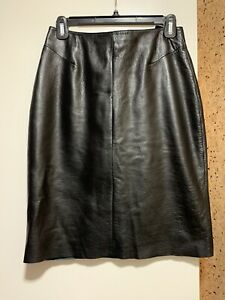 Wilsons-Leather-Women-039-s-Black-Solid-Leather-Knee-Length-Pencil-Skirt-Sz-2