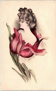 SIGNED-ARTIST-COBB-SHINN-1909-Fantasy-WOMAN-in-FLOWER-Handcolored-Postcard