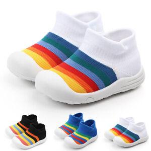 Baby Boys Girls Rainbow Knit Sock Shoes