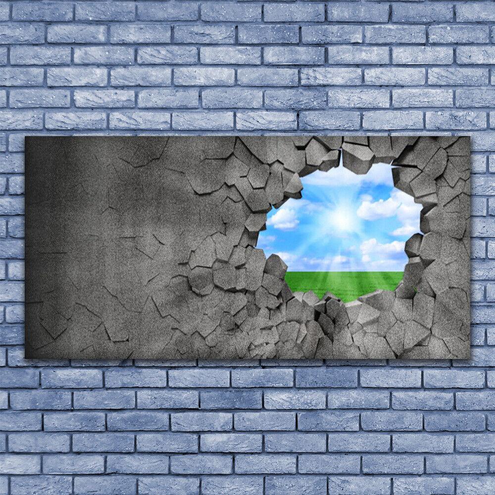 Leinwand-Bilder Wandbild Leinwandbild 140x70 Loch Gras Himmel Kunst