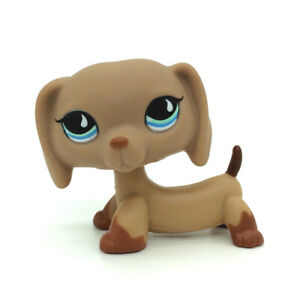 Littlest Pet Shop #518 Puppy Dog Dachshund Tan Brown w// Blue Teardrop Eyes LPS