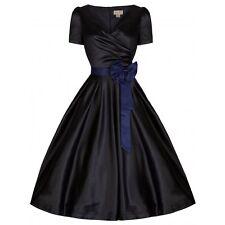 Vestido De Fiesta nuevo Estilo Vintage Años 50 Negro Satinado Gina Rockabilly Swing Talla 10