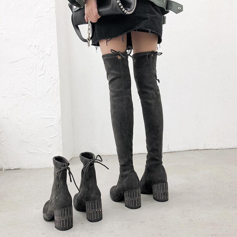 Bloque de Mujer con estrás elástico Tacones Altos Punta rojoonda Sobre La Rodilla Alta botas al tobillo