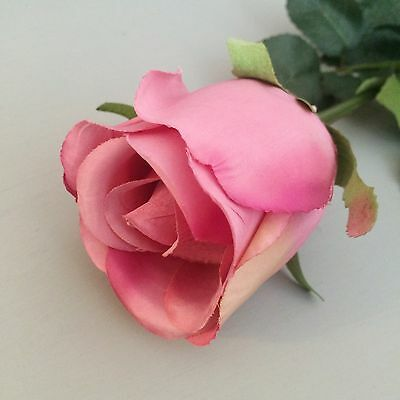 Individual Pink Rose Buds. Artificial Roses. Realistic Faux Silk Flowers