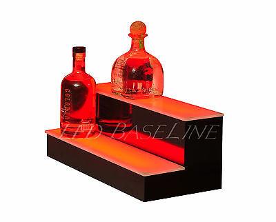 "19"" 2 Tier Step - LED Lighted Back Bar Liquor Bottle Shelf Glowing Display Stand"