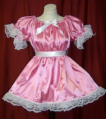 ADULT SISSY BABY LIL GIRL STYLE MED PINK PARTY DRESS w/ATTACHED CRINOLINE SLIP