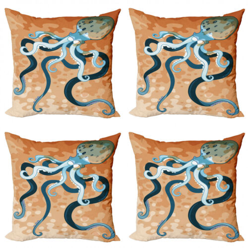 Ambesonne Octopus Nautical Cushion Cover Set of 4 for Couch and Bed in 4 Sizes