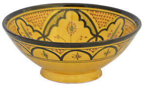 Moroccan Dinner Plate Rice Salad Pasta Bowl Serving  Safi Yellow 12 Inch Large