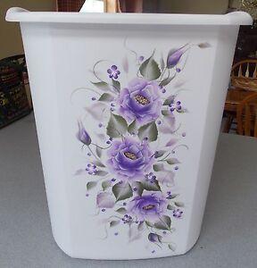 Hp roses shabby to chic waste paper basket purple ebay - Shabby chic wastebasket ...