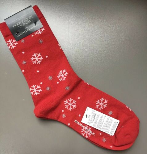 Banana Republic Red Snowflake Socks One Size Fits Most New With Tags Free Ship