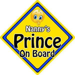 No Personalizado De Niño//Bebé A Bordo Coche Firmar ~ nannys Prince On Board ~ Azul